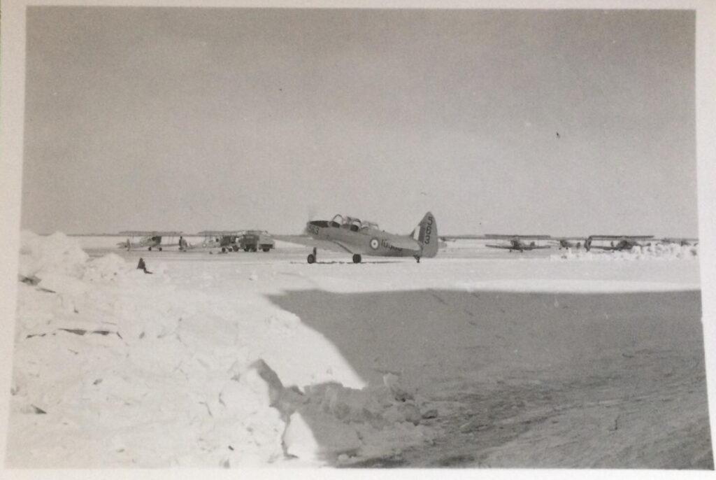 Cornell 10563 and Tiger Moths at RCAF Station Caron, Saskatchewan